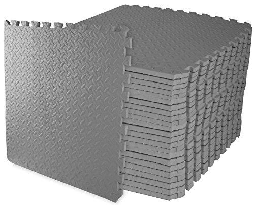 BalanceFrom Puzzle Exercise Mat with EVA Foam Interlocking Tiles (Gray)