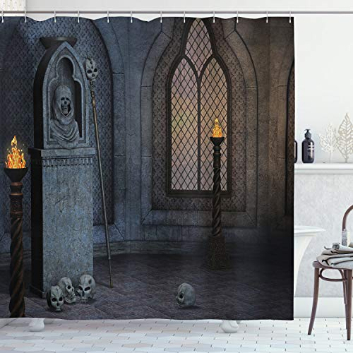 Ambesonne Gothic Shower Curtain, Gothic Scenery Mystical Spooky Moonlight Darkness Skulls Ghost Story Art, Cloth Fabric Bathroom Decor Set with Hooks, 75' Long, Blue Brown