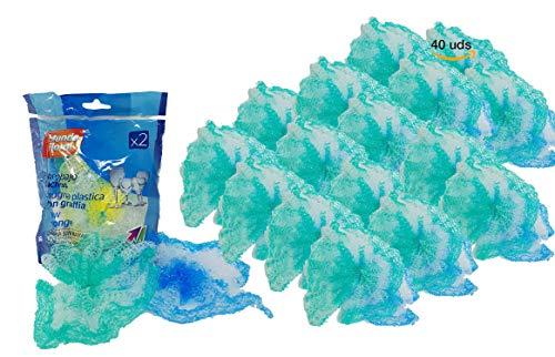 Mundo Floral Estropajo antibacterias lacitos, Bandeja con 40 Unidades envasados en Packs de 2 estropajos. Limpia sin rayar Las Superficies más delicadas