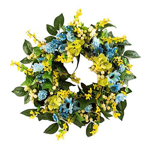 GRANDLIN Corona de flores artificiales de Forsythia, decoración para colgar en la pared, accesorios para fotos, guirnaldas de invierno para casa de campo, plantas falsas para colgar al aire libre