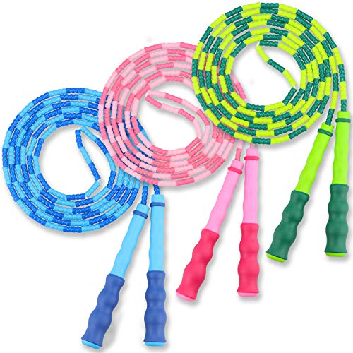 ALIGADO Kids Jump Rope, 3 Pack Beaded Jump Ropes for Kids, with Adjustable Length Skipping Rope for Kids, Men and Women Keep Fitness, Jumping Rope for Workout at Home, School, Gym