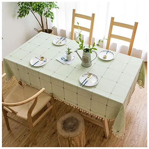WLI Mantel Rectangular de Lino de algodón, 80x140cm, Verde Mantel con borlas de Color sólido, Cubierta de Mesa Decorativa a Prueba de Polvo para Cocina, Comedor, Mesa de Picnic