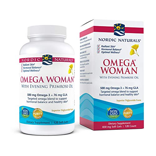 Nordic Naturals Omega Woman, Lemon - 120 Soft Gels - 500 mg Omega-3 + 800 mg Evening Primrose Oil - Healthy Skin, Hormonal Balance, Optimal Wellness - Non-GMO - 60 Servings