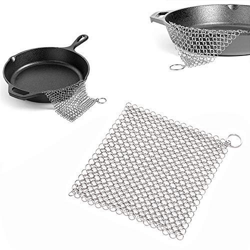 1 PC de hierro fundido, limpiador de anillos para limpiar, limpiador de sartenes de acero inoxidable, cepillo de cadena de acero inoxidable para camping, cocina, sartenes, sartenes o wok y más