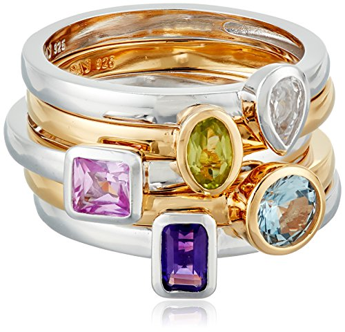 18k Yellow Gold Plated Sterling Silver Created Aquamarine, White Sapphire, and Pink Sapphire, Genuine Peridot and Amethyst; 5 Piece Gemstone Stacking Ring, Size7