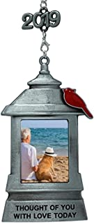 BANBERRY DESIGNS Memorial Christmas Lantern Ornament Frame – Thought of You with Love Today Saying Hanging Picture Ornament - Bereavement Cardinal Keepsake Photo Holder