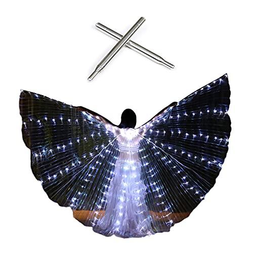 HJHIWE Alas de danza del vientre con palo telescópico, alas de mariposa LED Isis alas brillan iluminadas actuaciones Disfraces brillantes para espectáculos de escenario Halloween fiesta de Navidad