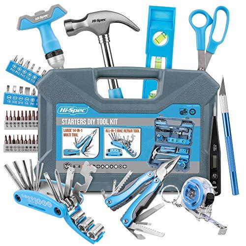 Hi-Spec Maletín Completo de Herramientas de Mano Esenciales para tu Primer Hogar Todo en Uno, Kit de Reparación, 48 Herramientas y Accesorios, Color Azul