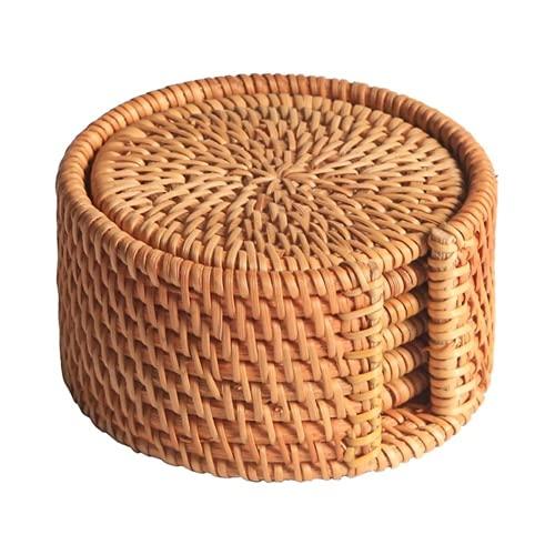 HBDY Posavasos de corcho absorbentes de 4 pulgadas reutilizables para taza de bebidas redondas, juego de 6 piezas