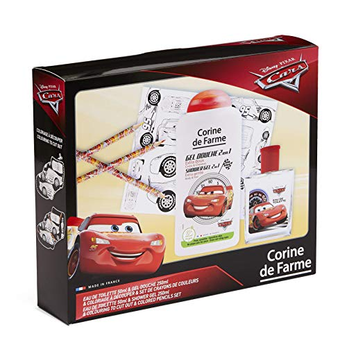 Corine de Farme | Cars - Caja de regalo | Disney| Perfume infantil 50 ml | Gel de ducha infantil 250 ml | colorear niños | lápices de colores | Fabricado en Francia