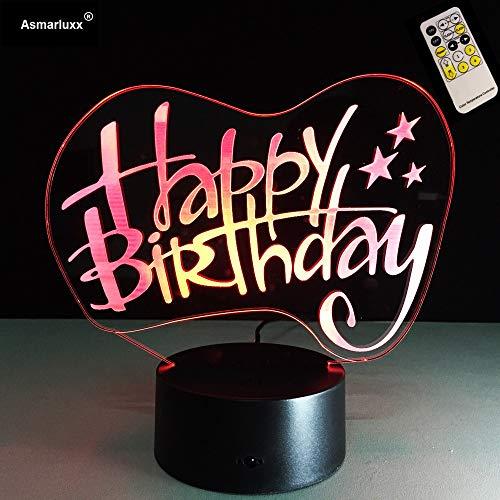 Remote 3D Tischlampe Kinder Spielzeug Geschenk Alles Gute zum Geburtstag Gebäude Mode Nacht Licht Stimmung Atmosphäre Illusion Schlafzimmer Freund Familie Kind Spielzeug