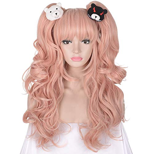 AMZCOS Long Wavy Pink Cosplay Wig with Two Ponytails and One Pair Bear Clips for Women Girl's Cosplay Halloween Party