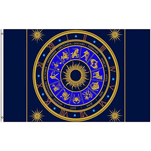 jiaxingdalin Alter Blauer analoger Tierkreis-Uhr-Astrologie-Flaggen-Polyester