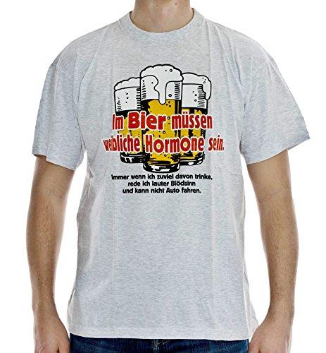 T-Shirt Im Bier müssen weibliche Hormone Sein Baumwolle grau meliert Größe XL Siebdruck Original 1990er Jahre