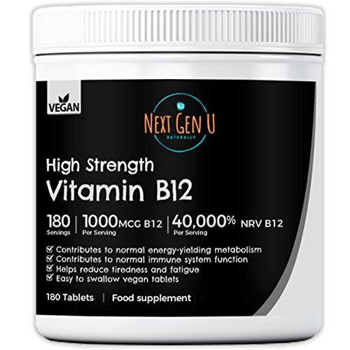 Vitamin B12 – 180 High Strength 1000mcg Vegan B12 Tablets | 6 Months Supply | Helps Support Energy Production | 1000 mcg Methylcobalamin | No Additives Gluten Free