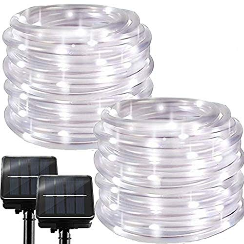 Chipark Solar String Lights Outdoor Rope Lights, 2 Pack 100 LED 8 Modes Waterproof Tube Light Copper Wire Fairy Lights for Garden Fence Patio Yard Summer Party Wedding Indoor Décor,Cool White