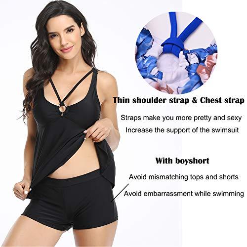 Tankini Traje de Baño Mujer Dos Piezas Volantes Bañador Correa Halter Impresión Vestido Pantalones Cortos Conjuntos (Negro 2XL)
