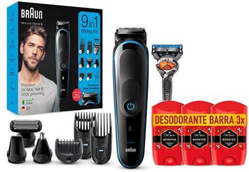 Braun 9 en 1 - Máquina recortadora de barba, set de depilación corporal y cortapelos para hombre, Maquina cortar pelo + Old Spice Booster Antitranspirante Y Desodorante En Barra para Hombres 3 x 50 ml