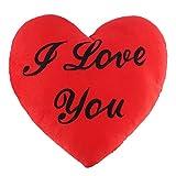 THE TWIDDLERS Cuscino a Forma di Cuore Rosso con la Scritta I Love You - Regalo Romantico Amore Peluche Ideale per San Valentino - 34 x 28 x 6 cm