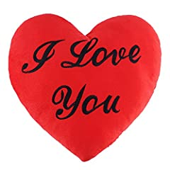 Idea Regalo - THE TWIDDLERS Cuscino a Forma di Cuore Rosso con la Scritta I Love You - Regalo Romantico Amore Peluche Ideale per San Valentino - 34 x 28 x 6 cm
