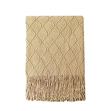 Bourina Throw Blanket Textured Solid Soft Sofa Couch Decorative Knitted Blanket, 50  x 60 , Mustard