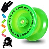 MAGICYOYO Responsive Yoyo K1-Plus Glow in The Dark, Durable Plastic Yoyo for Beginner Kids, Hubstack Basic Yoyo with Narrow C Ball Bearing and Extra 5 Yoyo Strings+ Glove+Yoyo Sack Gift (Glow Green)