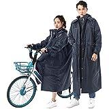 Fosys レインコート 自転車 レインポンチョ レディース メンズ レインウェア バイク 通学 通勤 ロング 袖付き ツバ付き リュック対応 (L, ネイビー)