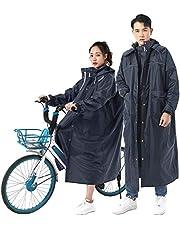 Fosys レインコート 自転車 レインポンチョ レディース メンズ レインウェア バイク 通学 通勤 ロング 袖付き ツバ付き リュック対応