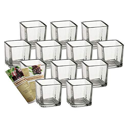 gouveo 12er Set Windlichtgläser Quadrat, Windlichter, Windlichthalter, Vase, Desserglas