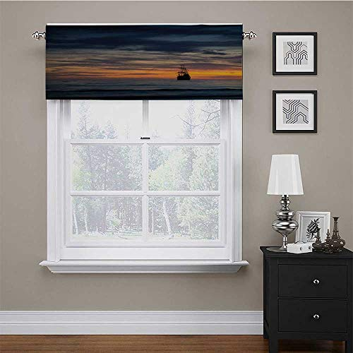 """carmaxs Curtain Valance Pirate Energy Efficient Small Curtains Ancient Vessel Sailing Ship Floating on Ocean at Idyllic Sunset Maritime 54"""" x 12"""" Dark Blue Yellow Coral"""