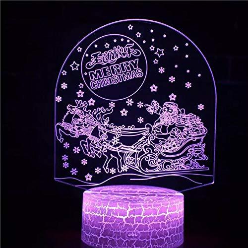 Santa Claus Christmas Elk Youth Base agrietada Luz nocturna USB Multicolor 3D Lámpara de mesa pequeña de acrílico