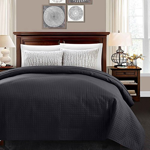 ALPHA HOME Super Soft Bed Quilt, Twin Size Luxury Checkered Lightweight Comforter Bedspread Coverlet Blanket, Black