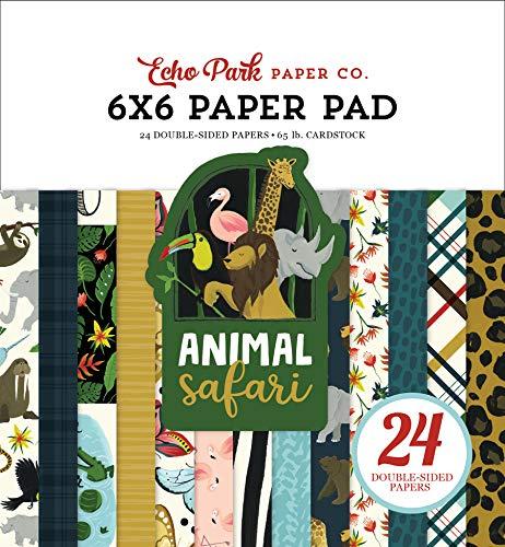 Echo Park Paper Company Animal Safari - Papel (6 x 6 papeles), color verde, azul marino, azul, amarillo, rojo y rosa
