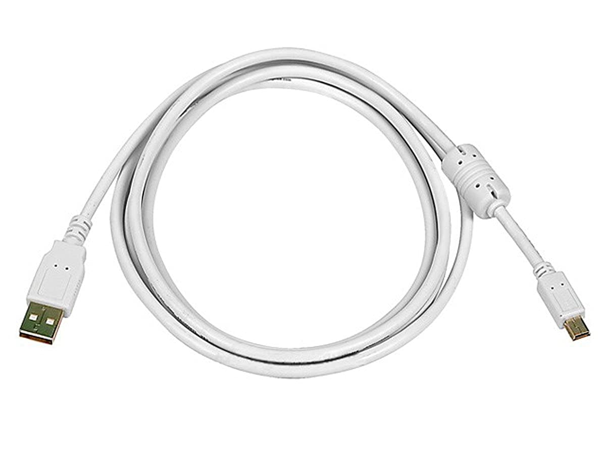 Monoprice 6-Feet USB 2.0 A Male to Mini-B 5pin Male 28/24AWG Cable with Ferrite Core (Gold Plated), White (108634)