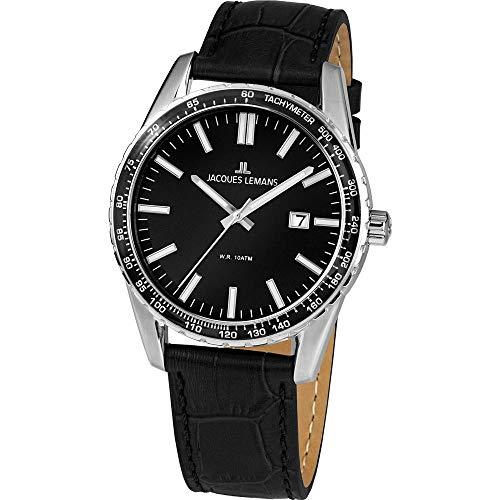 Jacques Lemans Herren-Uhren Analog Quarz One Size Schwarz 32016496