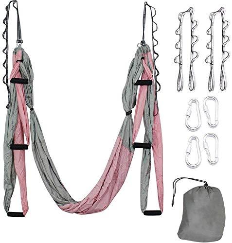 WEVB Multifunción Yoga Belt Anti-gravedad Yoga Hamaca Set para Home Gym Colgante con bolsa de transporte y cinturón de extensión (rosa)