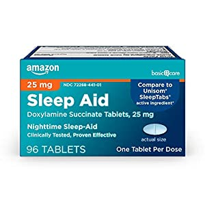 Amazon Basic Care Sleep Aid Tablets, Doxylamine Succinate Tablets, 25 mg, Nighttime Sleep Aid to Help You Fall Asleep, White, 96 Count