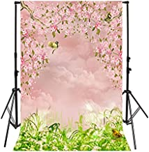 Leyiyi 3x5ft Photography Background Watercolor Spring Garden Backdrop Happy Birthday Party Peach Blossom Birds Singing Grass Leaves Summer Banquet Baby Shower Photo Portrait Vinyl Studio Video Prop
