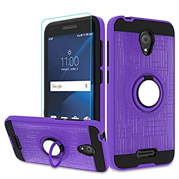 Alcatel IdealXcite/Verso/CameoX/Xcite Version 5044r Case with HD Phone Screen Protector,360 Degree Rotating Ring & Bracket Resistant Back Cover for Alcatel 5044R Purple