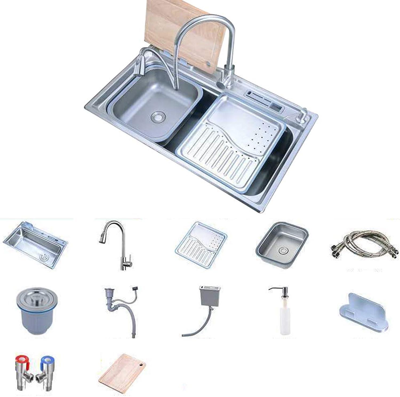 Küchenspüle Edelstahlspüle Doppelwaschbecken 78 × 48 cm 8 Zoll tief Mit Messerhalter