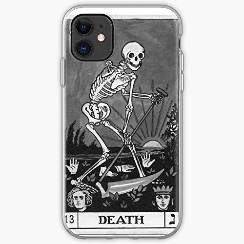 White Black Halloween Spooky Scene Tarot Death Goth and Phone Case For All iPhone, iPhone 11, iPhone XR, iPhone 7 Plus/8 Plus, Huawei, Samsung Galaxy Illustration Stars Digital Rabbit Cute B