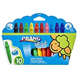 PRANG be-be Jumbo Crayons for Small Children, Washable, Includes Sharpener, Assorted Colors, 10-Pack (73010),Large