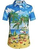 SSLR Women's Holiday Santa Claus Casual Ugly Hawaiian Christmas Shirts (Large, Blue Yellow)
