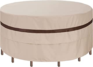 Patio Round Table Chairs Cover 90''Dia Waterproof Dustproof Round Table Covers for Outdoor Furniture Anti-Fading Heavy Dut...