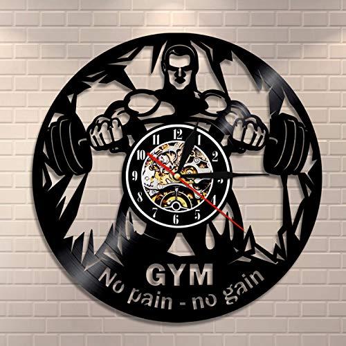 LIMN Fitness Vinyl Record Wall Clock NO Pain NO Gain Gym Wall Clock Weightlifting Men Inspirational Fitness Studio Wall Decor Clock|Wall Clocks