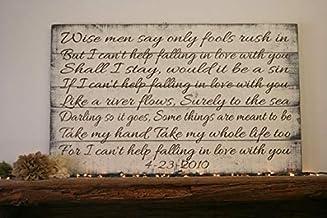 Wood Plaque Placa de Madera con Texto en inglés Wise Men Say Only Fools Rush In Large Pallet para Boda, Estilo Shabby Chic, Hecha a Mano