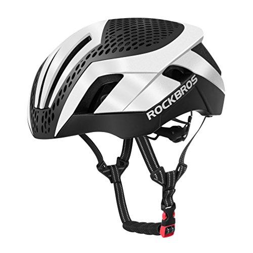 ROCKBROS Casco da Ciclismo per Bici MTB con 2 Coperchi Intercambiabili Circonferenza Regolabile 57-62cm Ultra-Leggero Unisex Certificato CE (Bianco)