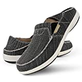Slip On Shoes for Men, Plantar Fasciitis Canvas Loafer Shoes with Arch Support, Orthopedic Casual Non Slip Shoes with Rubber Sole (10, Black)
