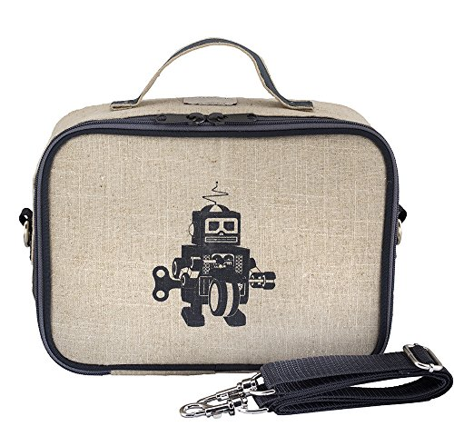SoYoung Lunch Bag - Raw Linen, Eco-Friendly, Retro-Inspired, Leakproof, Easy to Clean (Grey Robot)