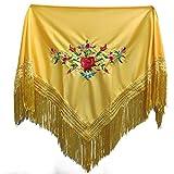 MUNDDY® - Mantón Bordado en Flores Para niña. Mantones Flamenco Sevillana.Color Rojo Negro Rosa Blanco Amarillo Azul. Envio desde madrid con seguimiento. … (Amarillo)
